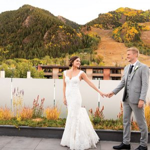 Bride and groom in Aspen Colorado