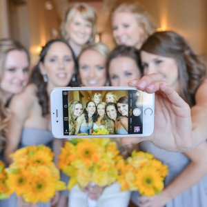 Wedding selfie bride and bridesmaids