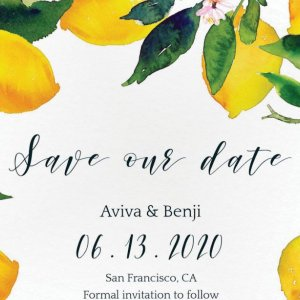 lemon save the date card