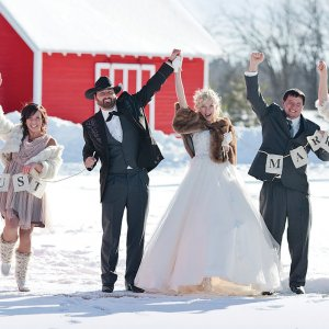 Winter wedding party