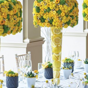 yellow and gray wedding color palette