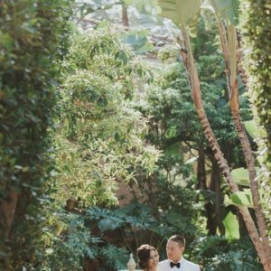 Lush garden wedding ceremony