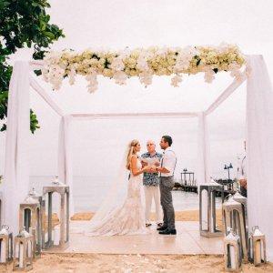 Tent beach wedding