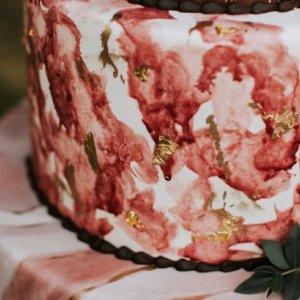 Rustic painted wedding cake