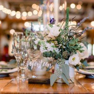 Etched glass wedding centerpiece