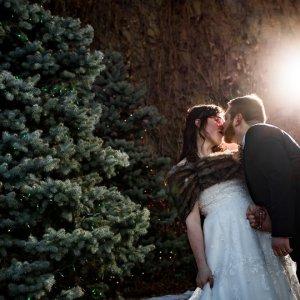 Winter wedding photo of bride and groom