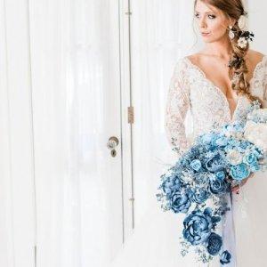 Blue ombre bridal bouquet