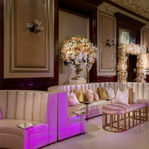 Lounge seating at wedding reception