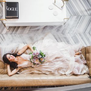 Bride laying on couch