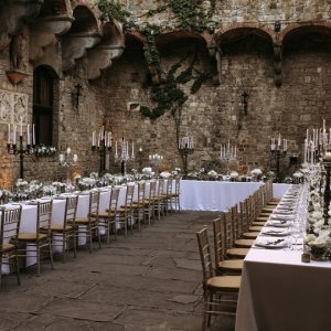 Long wedding reception tables