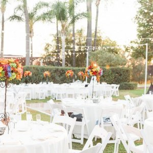 wedding reception decor pops of color