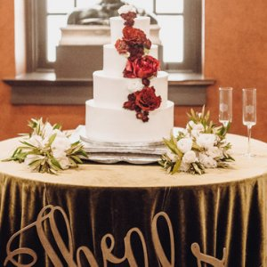 Laser cut out on wedding cake table