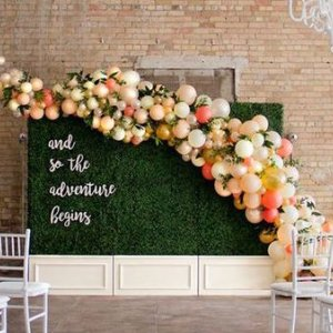 whimsical balloon wedding backdrop