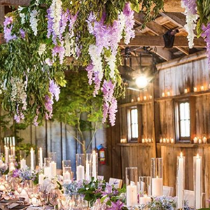 Wisteria wedding reception decor
