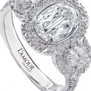 Christopher Designs L'Amour Crisscut Oval Three-Stone Engagement Ring