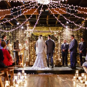 Wedding ceremony twinkling lights