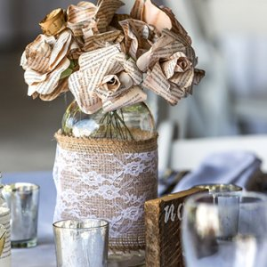 Paper flowers wedding centerpiece