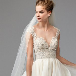 New strapless wedding dresses you 39 ll love bridalguide for V neck strapless wedding dress